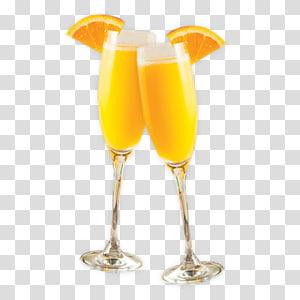 illustration de cocktails orange, cocktail de vin Mimosa Bellini, mimosa png