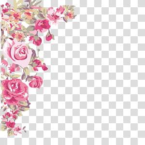 Fleur ,, coin fleurs peintes, roses roses png