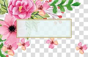 Carte de visite de peinture à l'aquarelle de fleur euclidienne, mariage grâce à la bordure de texte d'invitations de carte de voeux pour le jour de mère, illustration de fleurs roses png