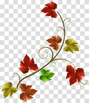 illustration de fleur rouge et verte, automne, décoration de feuilles d'automne png