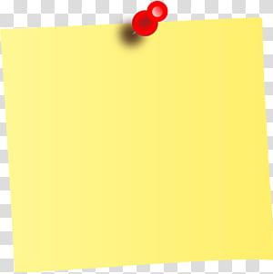 Post-it note Notes autocollantes en papier, pense-bête, pense-bête jaune et épingle png