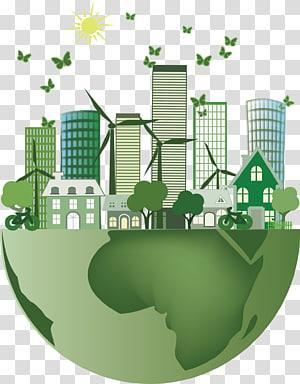 bâtiments et arbres illustration de la terre, économies d'énergie, économies d'énergie Préserver la Terre png