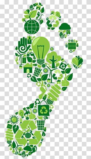pied vert illustration, empreinte carbone développement durable environnement naturel neutralité carbone empreinte écologique, empreintes de pas png