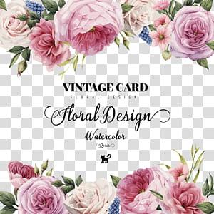 Faire-part de mariage Fleur Carte de vœux, roses aquarelles HD peintes à la main, carte vintage motifs floraux advertisement png