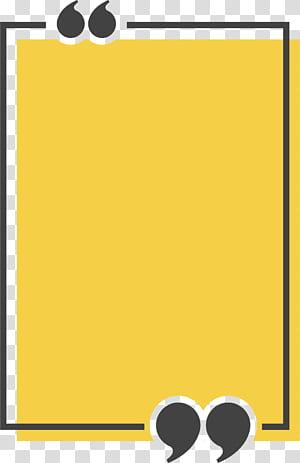 Icône de citation de zone de texte Congee, boîte de titre rectangle jaune, illustration jaune et noire png
