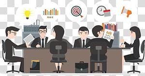 homme et femme est assis sur une chaise illustration, modèle de gestion Microsoft PowerPoint Business PPT, personnes à la réunion png