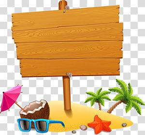 planche de bois brune, plage de vacances, élément de tourisme d'été png