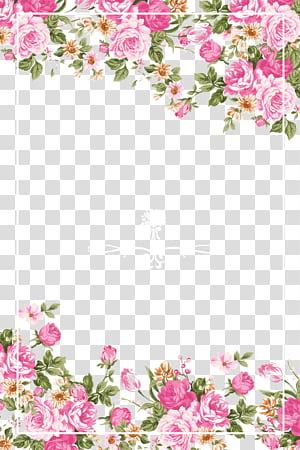 Invitation de mariage papier fleur rose rose, bordure de roses roses, cadre floral rose, vert et jaune png
