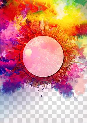 Rendu, couleur fond de fumée, rond multicolore png