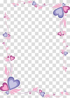 Papier d'impression et d'écriture Lettre, cadre rose en forme de coeur, cadre coeur rouge et violet png