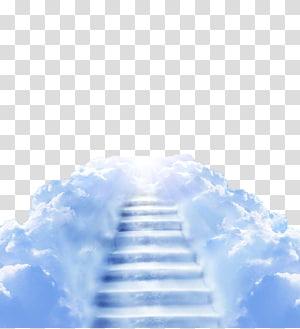nuages et escalier vers le ciel, nuage d'escaliers ciel clair, échelle de nuages png