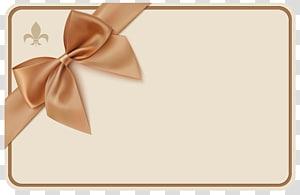 illustration de la carte sur le thème de l'arc brun, cadeau de coupon de ruban cadeau, étiquette avec noeud png