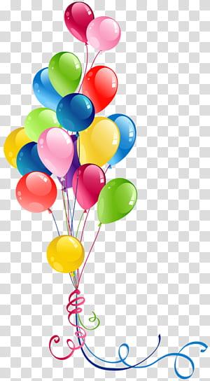 Balloon, Bunch Balloons, illustration de ballons de couleurs assorties png