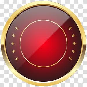 Épinglette, modèle d'insigne du sceau rouge, illustration ronde or et rouge png