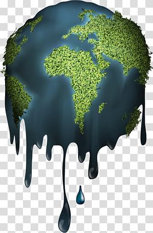 Illustration de la planète verte fondante, fichier informatique de fusion de la terre, terre fondue png