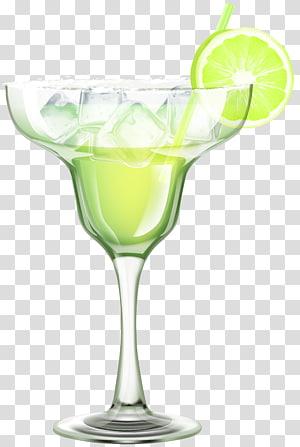 verre à martini avec illustration liquide verte, cocktail Margarita Martini Piña colada Gimlet, cocktail png