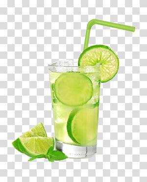 Jus de cocktail Mojito Caipirinha Cachaxe7a, jus de citron glacé, tranches sur citron vert sur verre à boire avec de l'eau et de la glace png