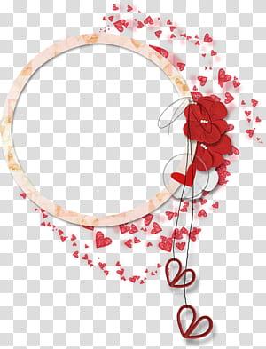 Fleur, frontière de dentelle circulaire de pétales, art graphique de coeur rouge et blanc png