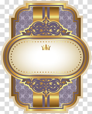illustration de la couronne d'or, qualité d'étiquette bleue, modèle d'étiquette de luxe pourpre png
