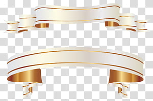 , Bannières blanches, rouleau de ruban d'or png