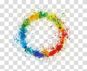 Roue chromatique, anneau d'éclaboussure de couleur, illustration abstraite ronde multicolore ronde png