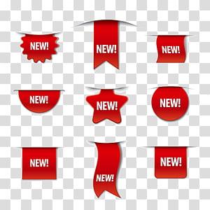 collage de bannières rouges, illustration de promotion d'autocollant d'étiquette, étiquette de promotion de jolie mode png