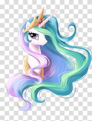 Princesse Celestia Princesse Luna Twilight Sparkle Rarity Pony, visage de licorne, illustration de licorne rose, violette et verte png