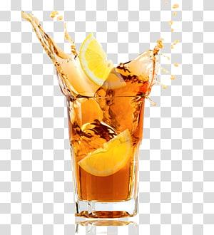 Thé glacé Boisson gazeuse Thé sucré Limonade, thé glacé, verre à boire clair avec jus png