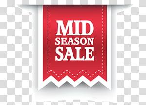 Solde de mi-saison, étiquette de vente, étiquette de vente de mi-saison rouge png