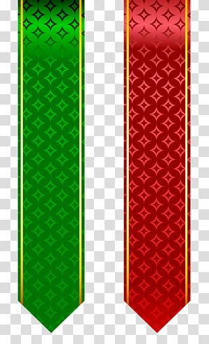 , Ensemble de bandes rouge et vert, deux chariots de clips de ruban vert et rouge png