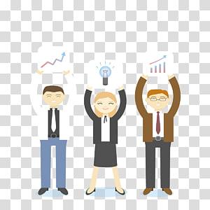 trois personnes détenant des illustrations, travail d'équipe, efficacité du travail png