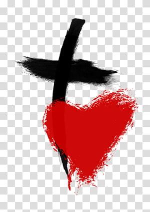 coeur rouge et croix noire illustration, Bible Dieu chrétien croix amour christianisme, coeur humain png