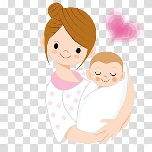 Infant Mother Cartoon, mère tenant un bébé, femme portant bébé animés illustration png