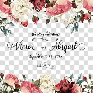 Faire-part de mariage Carte de voeux Anniversaire de fleur, mariage aquarelle de plantes, fleurs blanches et roses avec superposition de texte Victor et Abigail png