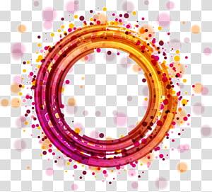 Cercle de lumière euclidien, halo de cercle géométrique abstrait coloré, illustration de bracelet violet et orange rond png