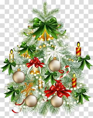 Arbre de Noël, arbre de Noël enneigé avec, arbre de Noël avec illustration d'ornement png
