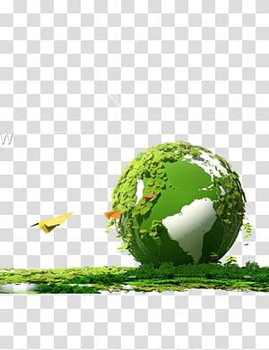 balle recouverte de feuilles, Terre Environnement naturel Respectueux de l'environnement, Terre verte png