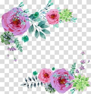 illustration de fleurs roses, invitation de mariage douche nuptiale fête de fête de naissance, fleurs peintes à la main png
