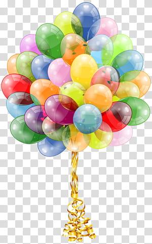 Balloon Birthday cake party gift, Balloons Bunch, illustration de ballons multicolores png
