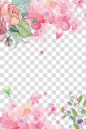 Fleurs roses Papier fleurs roses Rose, fleurs décorées fleurs roses peintes à la main Fond décoratif, illustration de fleurs pétales roses png