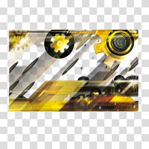 illustration d'engrenage jaune et noir, fond de bannière de technologie jaune png