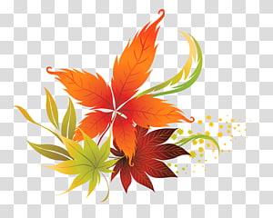 Couleur des feuilles d'automne, décor de feuilles d'automne, illustration de feuilles marron et vert png