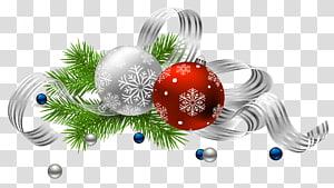 Décoration de Noël Ornement de Noël Père Noël, décoration de Noël, illustration de boules d'argent et rouge png