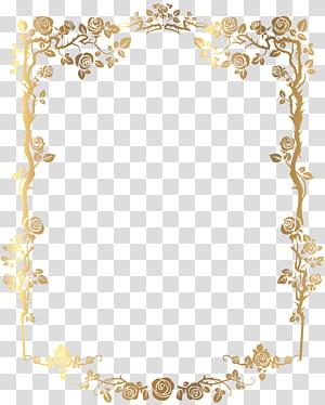cadre, bordure florale française rectangulaire dorée, illustrations numériques de cadre floral doré png