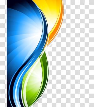 Graphisme, documents de base lignes abstraites, logo jaune, vert et bleu png