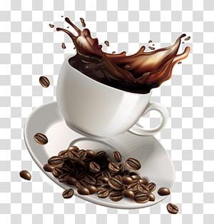 tasse à café et soucoupe set illustration], café blanc café instantané café, éclaboussure de café de dessin animé png