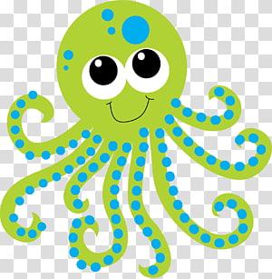 poulpe vert et bleu, Créature des grands fonds Aquatique, poulpe png