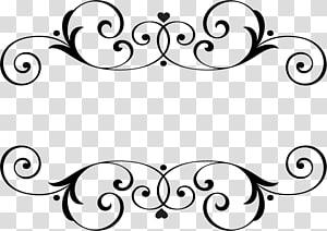 Nom du mariage monogramme, arabesco, illustration du cadre floral noir png
