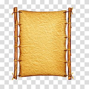 illustration de cadre en bois marron, papier parchemin, papier parchemin, rouleaux Vintage png