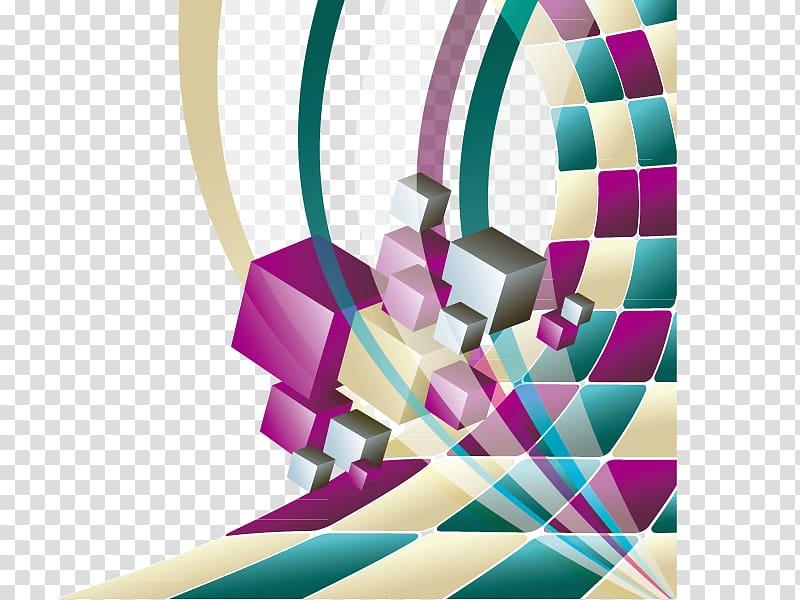 illustration de boîtes multicolores, géométrie solide forme géométrique euclidienne, Science et technologie abstrait png